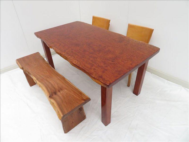 新商品 ブビンガ 天然木一枚板テーブル
